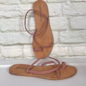 Jeffery Campbell Pink Braided Strap Sandals